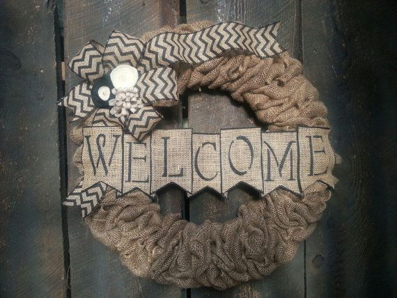 Burlap Wreath - Monogram Wreath - Chevron Wreath - Christmas Wreath - All Year Round Wreath - Last Name - Personalization - Pearls