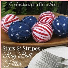 """CONFESSIONS OF A PLATE ADDICT Super Easy Stars and Stripes Rag Ball Filler"""