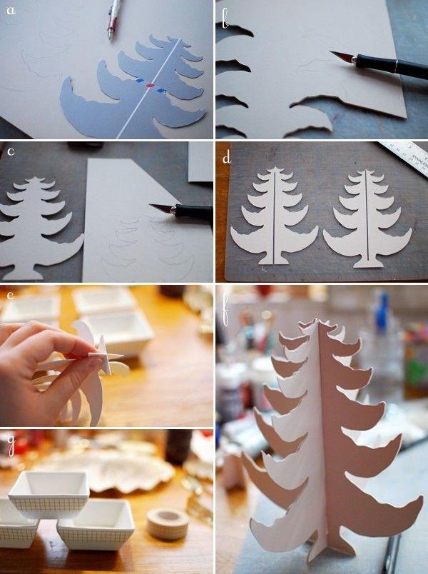 weihnachtsbaum basteln papier karton bastelanleitung