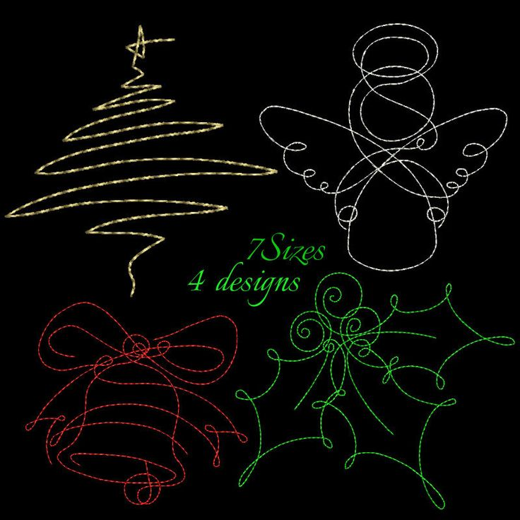 Christmas machine embroidery set design pack,pattern,digital download,angel,bell,holly berry,christmas tree,redwork design by GretaembroideryShop on Etsy