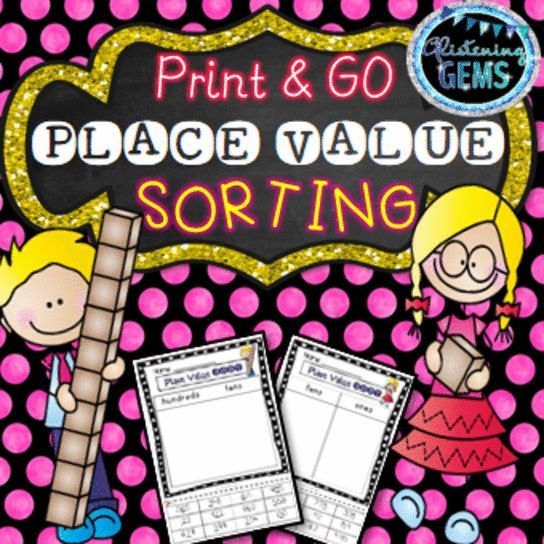 Place Value Sorting - Print and Go kit with interactive worksheets for 2nd grade.