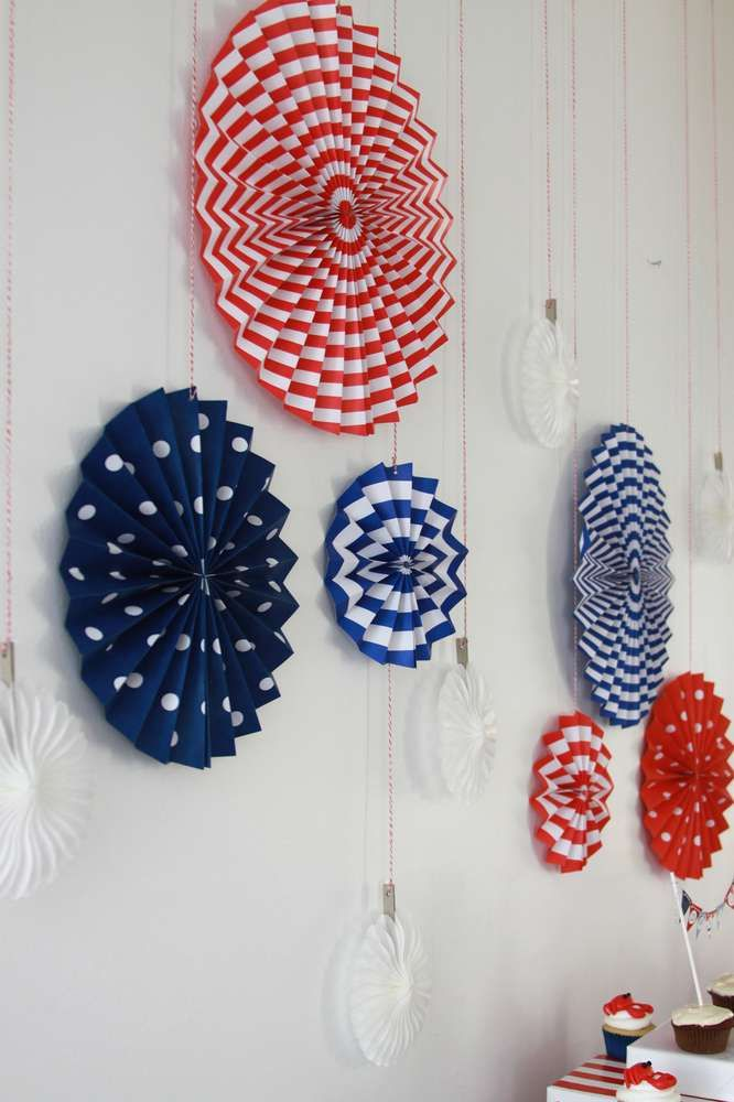Nautical summer party wall decorations or tablescape back ground. Love the red, white and blue!