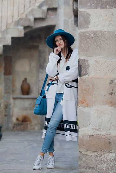 Get this look: http://lb.nu/look/8447705  More looks by Viktoriya Sener: http://lb.nu/viktoriyasener  Items in this look:  Vipme Cardigan, Catarzi Hat, Chicwish Blouse, Zara Bag, Mango Jeans, Adidas Trainers   #bohemian #casual #street