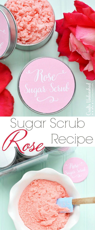 DIY Rose Homemade Sugar Scrub Recipe #crafts #beauty #DIY