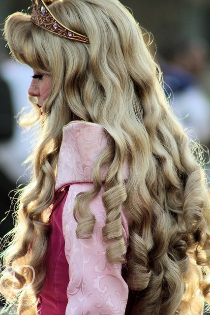 curly princess hair with ringlets at the bottom! :)