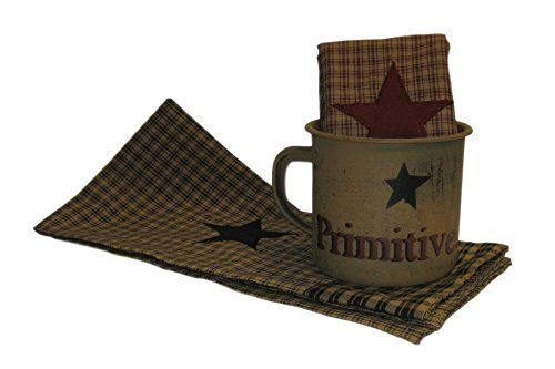 Primitives Tin Mug and Plaid Star Cotton Hand Towels Country Home Decor Bundle Set (3 Items) #country #decor # americana