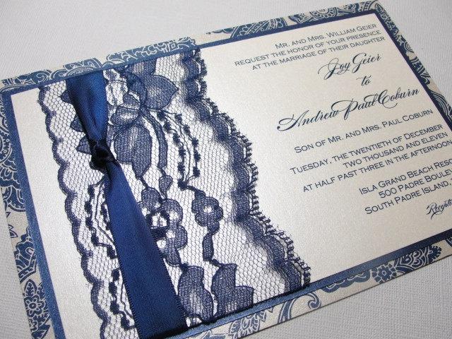 Navy Blue Invitations Wedding: Elegant Lace Wedding Invitation--If I Choose Navy Blue