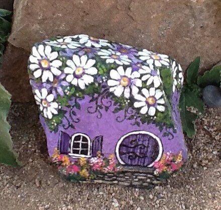 PURPLE DAISY HOUSE hand painted garden rock by MyGardenRocks