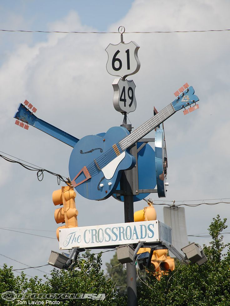 the blue guitars at the crossroads is a famous spot for musicians, bringing music to the world