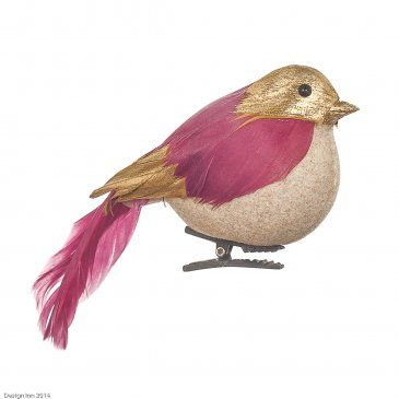 Feathered Bird in Gold & Pink 11cm