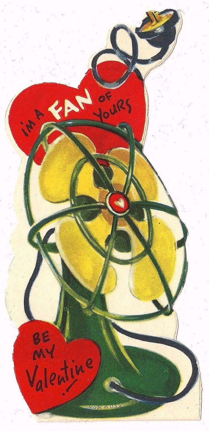 "Old Electric Art Deco Table Fan ""I'M A Fan of Yours"" Vintage Valentine Card 