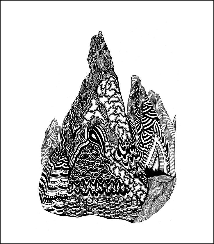 Cerro Torre Tuschezeichnung Copyright by mgbergbilder / Gabriele Maier