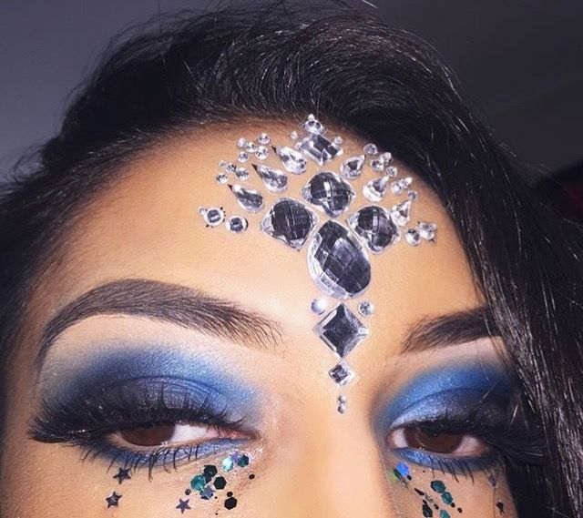 Silver and blue festival makeup