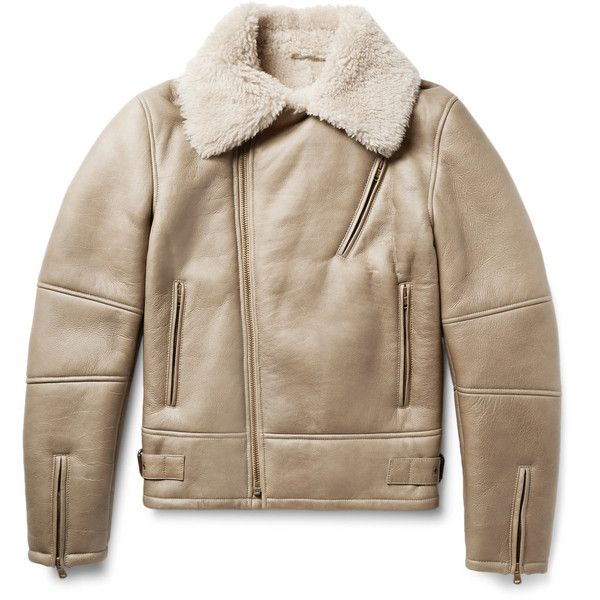 Tomas Maier Shearling Biker Jacket ($5,045) ❤ liked on Polyvore featuring men's fashion, men's clothing, men's outerwear, men's jackets and mens shearling jacket
