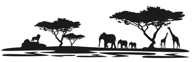 silhouette gräser | Wandtattoo Afrika M4 Wandtattoos Silhouetten