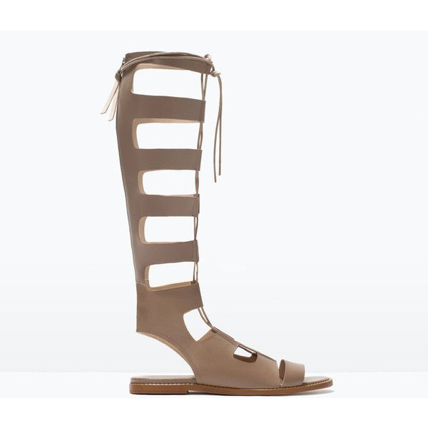 Zara Ss Brown Lace Up Leather Sandals Roman Gladiator Shoes