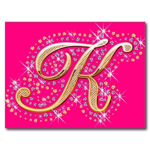 Golden Letter K - Postcard