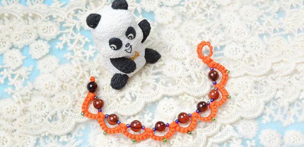 Picture of Autumn Jewelry Project- Free Orange Beaded Tatting Bracelet Patterns