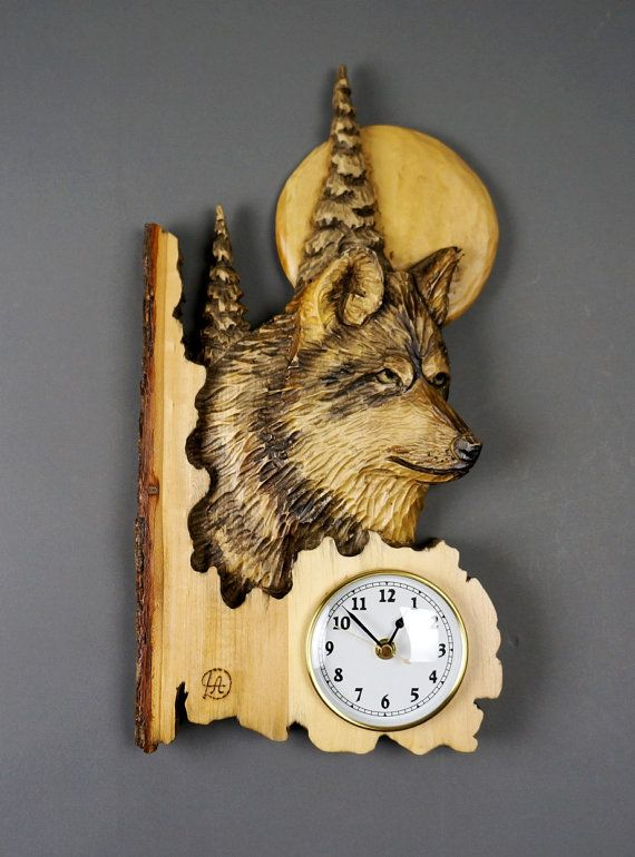 Wolf Carved on Wood Wood Carving with Bark Hand Made Gift Wall Hanging clock for the Wolves lovers Rustic OOAK Gift for a Hunter Cabin Deco