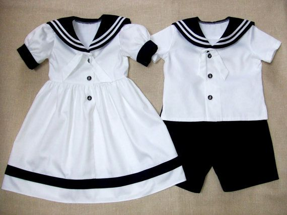 Sailor boy suit sailor girl dress wedding party flower girl ring bearer baptism christening baby outfit first birthday beach mariner natural...