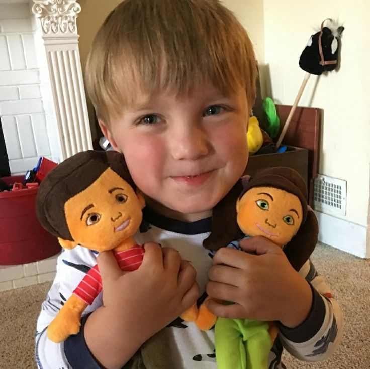 Another happy young brother with his new Caleb and Sophia dolls.