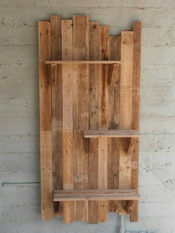 pallet wall and shelves palette woodwork pinterest