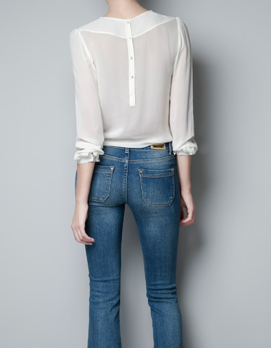 BLOUSE WITH LACE FRONT - Shirts - Woman - ZARA United States