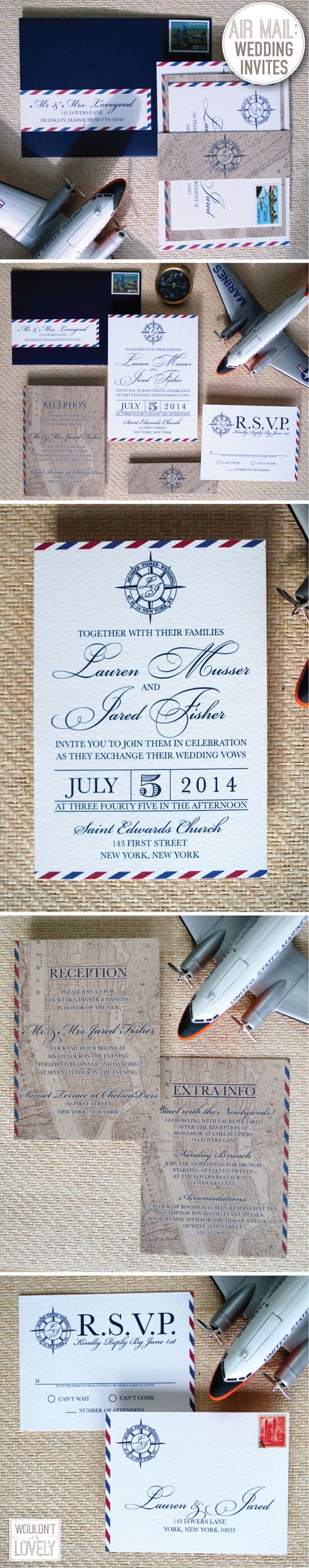 Air Mail Wedding invitation suite, red white and blue wedding invitations, vintage map of NYC wedding invite, compass wedding logo, 4th of July wedding, Wouldn't it be Lovely