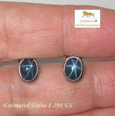 5.31 CT NATURAL BLUE STAR SAPPHIRE EARRINGS - A