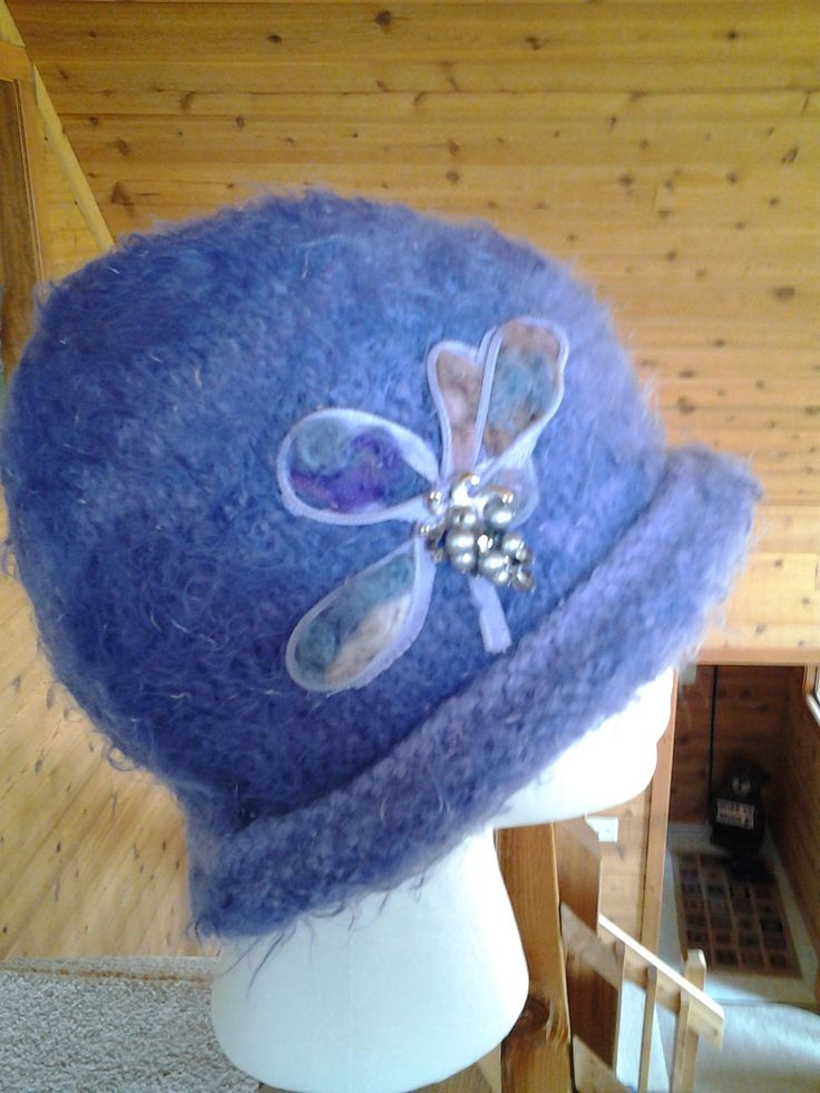 Vintage zipper - needled felted onto our wool felted rolled brim hat!