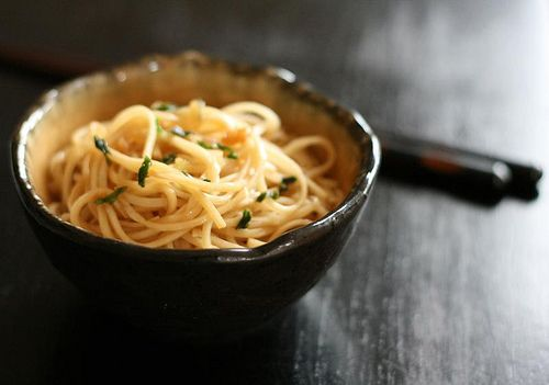This is a take on the garlic noodles from my favorite restaurant in San Francisco, Crustacean.  It's a highly guarded secret recipe.  I hope this comes close.