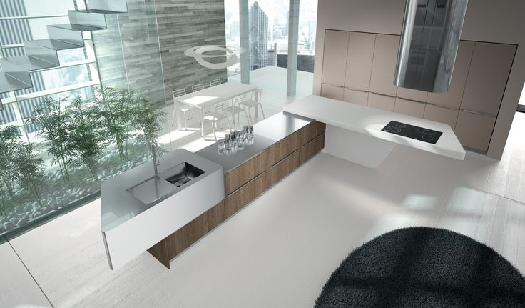 Texas Oak and Matt Clay thermal-structure doors. Laminate worktop with unicolor edge in Bianco Dax finish and stainless steel top. #ArritalCucine #Kculture #modern #kitchen #Yoshi