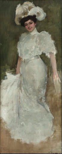Portrait of Julia Fons Ramon Casas Carbó Wat je ziet eens een vrouw (julia fons) die poseert voor de schilder. Julia draagt een soort van trouwachtige witte jurk met een bijpassend hoofddeksel. Ze straalt rijkdom uit. Haar gezicht valt het meest op door de details, terwijl haar witte jurk een beetje vervaagd is. Het is gemaakt met olieverf op een canvas doek en komt uit 1909. Het verhaal achter het schilderij kan ik niet vinden.