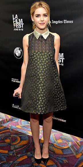 Last Night's Look: Love It or Leave It? Vote Now! | KIERNAN SHIPKA | in a deep green multi-pattern Valentino dress, Edie Parker clutch and black pumps at the Los Angeles Film Festival screening of Fan Girl.
