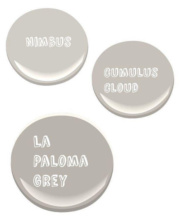 Three Gray Paint Colors to Keep in Mind for your Next Home Renovation. Benjamin Moore Nimbus Gray. Benjamin Moore Cumulus Cloud. Benjamin Moore La Paloma Gray.Brick & Mortar.