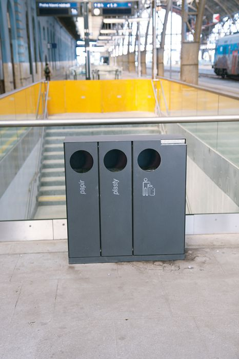 Litter bins in Prague's main railway station by mmcité. Click image for full profile and visit the slowottawa.ca boards >> http://www.pinterest.com/slowottawa/boards/