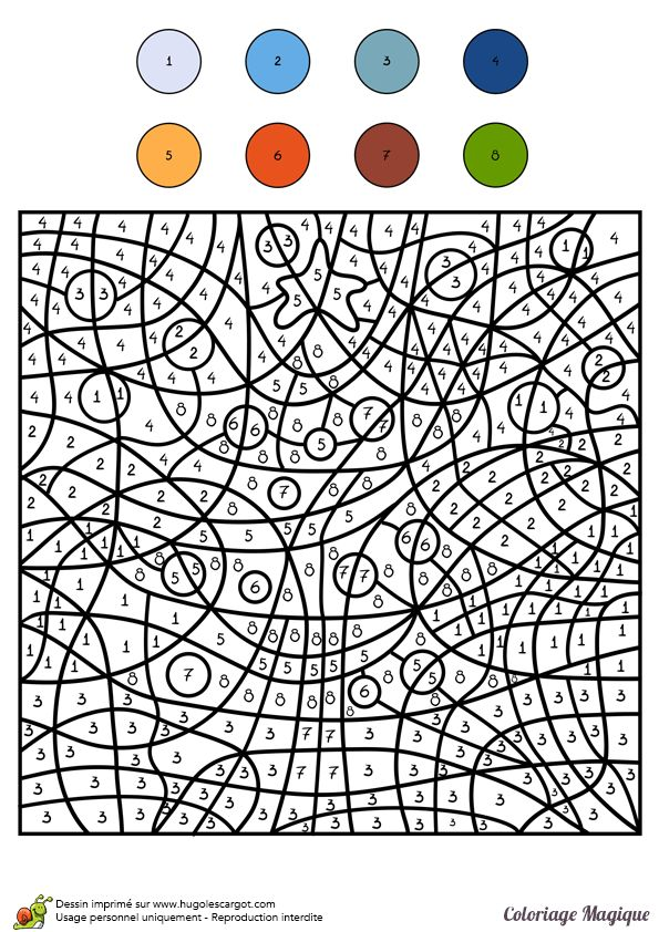 Coloriage magique niveauCM2 d'un sapin de Noël - Hugolescargot.com