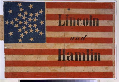 1860 campaign poster for Abraham Lincoln and Hannibal Hamlin.