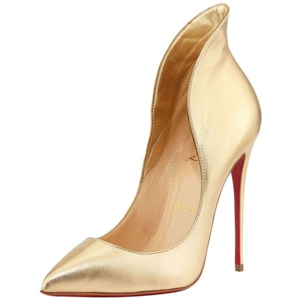 Pre-owned Christian Louboutin Mea Culpa Metallic Gold Pumps ($520) ❤ liked on Polyvore featuring shoes, pumps, heels, gold, red sole shoes, low heel pumps, metallic gold pumps, christian louboutin shoes and gold pointed pumps