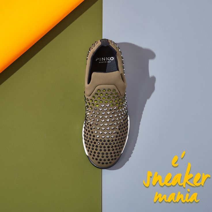 """È sneaker mania"" Green #ShineBabyShine sequins sneakers #FW15"
