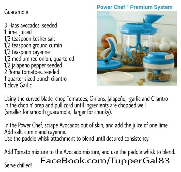 Tupperware Power Chef Premium System Recipe Guacamole