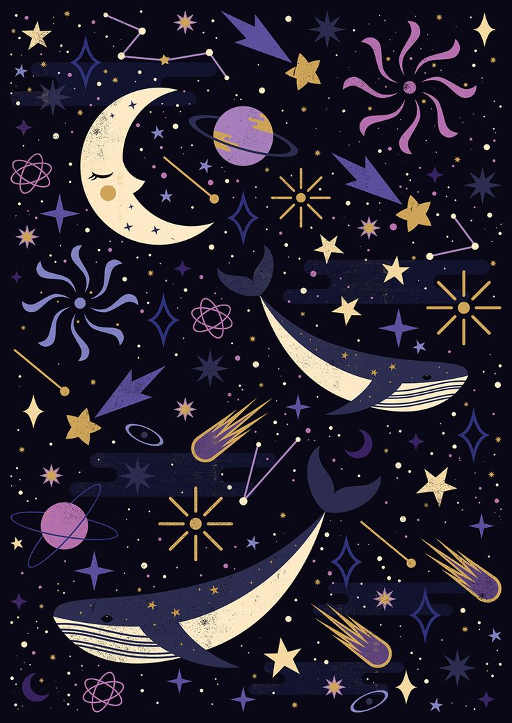 Carly Watts Illustration: Sea Space #whale #space #galaxy #design #stars #illustration #pattern