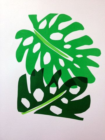 """I love this print. Monstera """"Swiss Cheese Plant"""" screen print by Lucy Auge. Available at What You Sow."""
