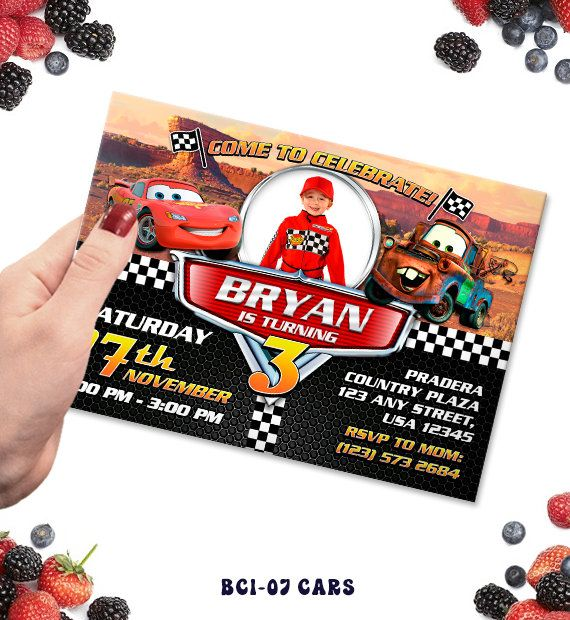Cars Invitation, Invitations, Invite, Cars Birthday, Cars Invite, Cars Party, Birthday Party, BCI-37