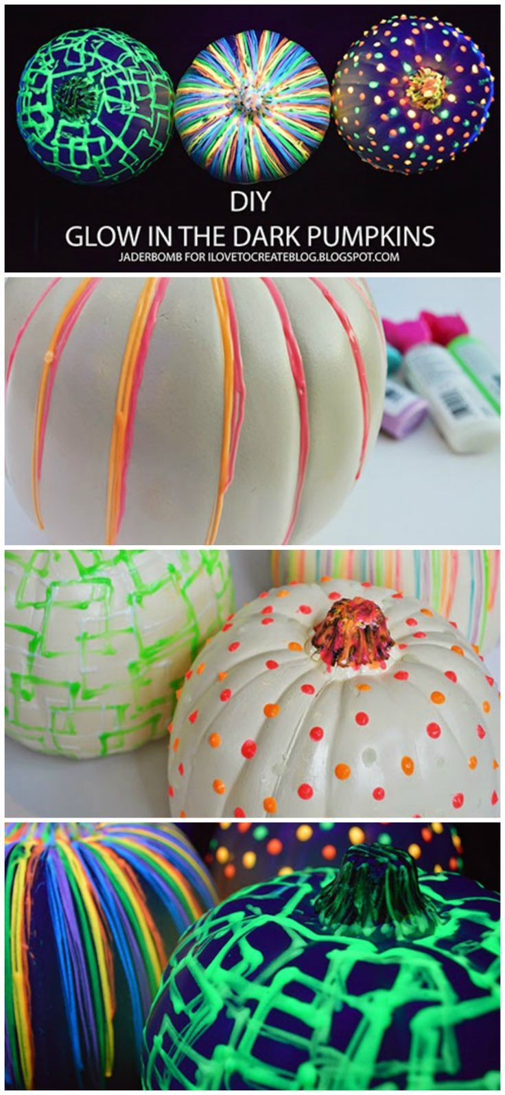 Amazing no-carve pumpkin project. The glow in the dark detailing makes these extra special!
