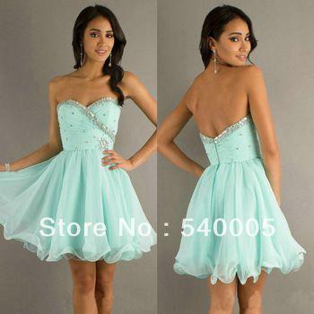 2014 Cheap bridesmaid dresses  Light Blue Chiffon Organza Cheap Price Short Prom Dress Cocktail Homecoming Dresses US $78.68