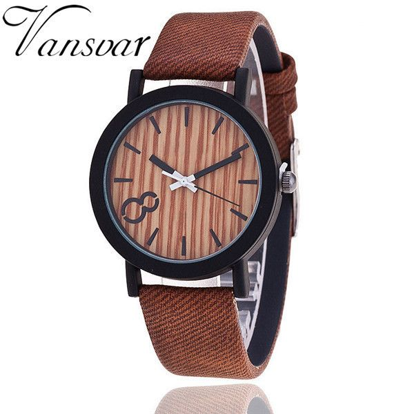 Simulation Wooden Relojes Quartz Watch Color Leather Strap
