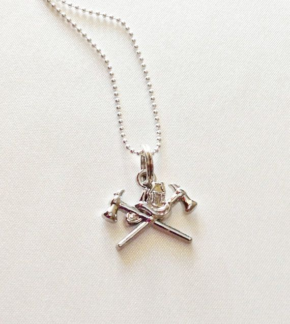 Firefighter Axes and Helmet Necklace Charm Pendant - Valentines Day Gift for Firefighter Wives, Girlfriends or Moms!