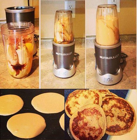 Potrebujeme 2 zrelé banány, 2 vajcia ( alebo 1 vajce + 1 bielok), štipku škorice, kvapku vanilkového extraktu a pokiaľ máte radi, pridajte šálku ovsených vločiek. Všetko rozmixujte a šup s tým na panvicu