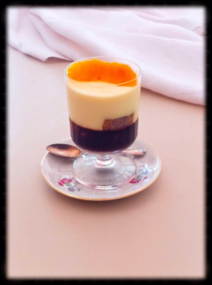 Ingredients ( for about 7 people ):250 g mascarpone cheese250 g of fresh milk cream3 oranges2 ladyfingers3 egg yolksa pinch of ground cardamom6 g of unflavored gelatin 2.5 dl of espresso ( restricted ) coffee15